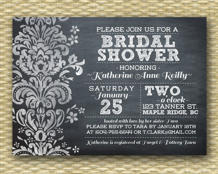 Chalkboard Bridal Shower Invitation Black White Damask Chalkboard Typography Style ANY EVENT