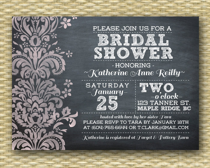Bridal Shower Invitation Vintage Chalkboard Bridal Shower Teal White Damask Wedding Shower Bridal Brunch Bridal Tea, ANY EVENT, Any Colors