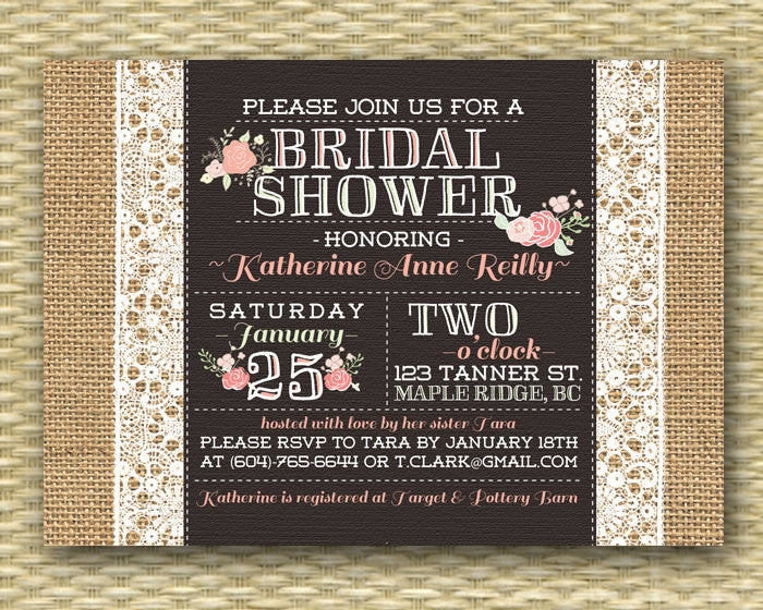 Burlap Lace Bridal Shower Invitation Rustic Bridal Brunch Pink Coral Floral Bridal Tea Typography Style Baby Shower, Any Event, Any Colors