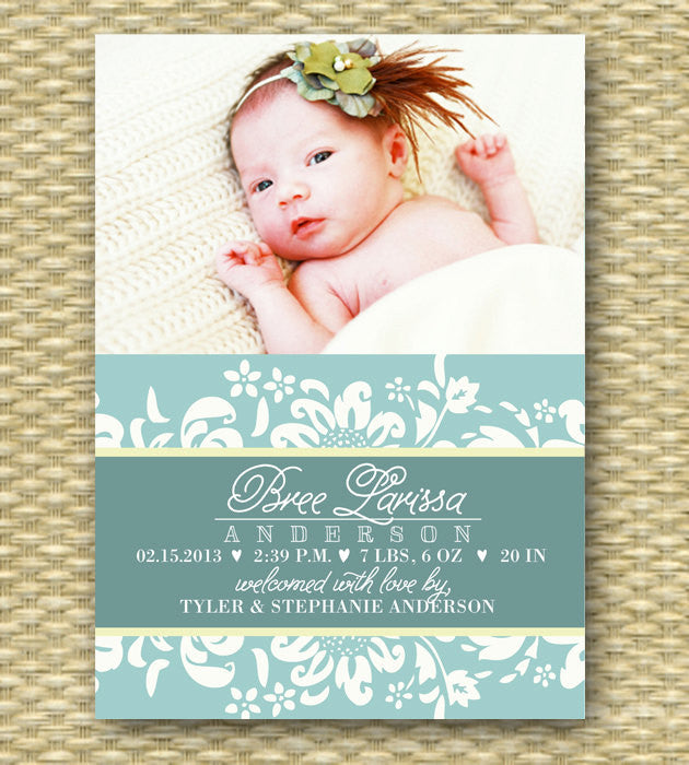Baby Girl Birth Announcement Floral Script Typography Style, ANY COLOR