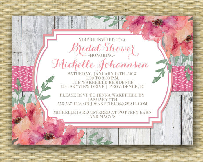Floral Bridal Shower Invitation - Rustic Wood Herringbone Ribbon Floral - Birthday Invitation, Baby Shower Invitation, Couples Shower