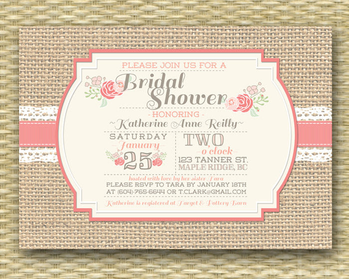 Burlap Lace Floral Bridal Shower Invitation, Printable or Printed, ANY EVENT, Bridal Brunch Coral Peach Blush Pink Mint