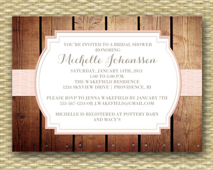 Bridal Shower Invitation Shabby Chic Country Western Rustic Bridal Shower Bridal Brunch Bridal Tea Blush Pink Peach, ANY EVENT Any Color