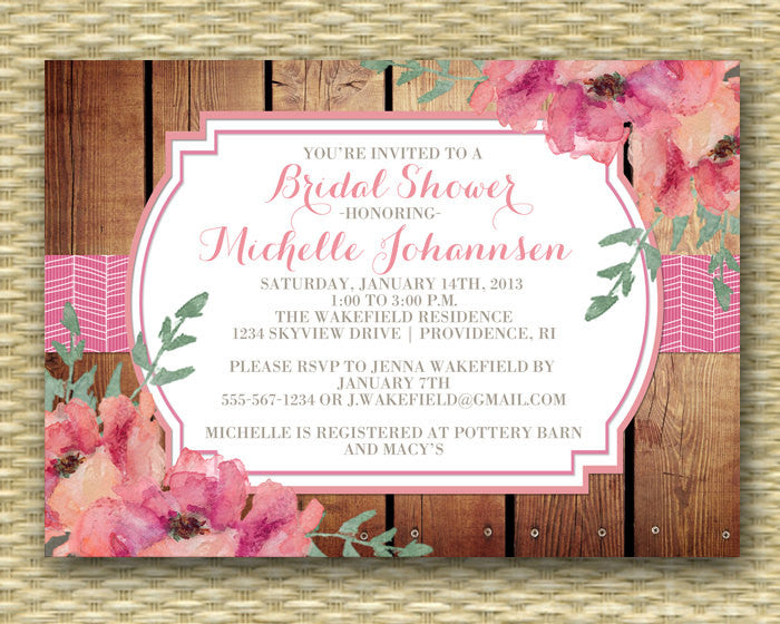 Bridal Shower Invitation Wood and Watercolor Flowers Rustic Bridal Shower Pink and Coral Floral Invitation