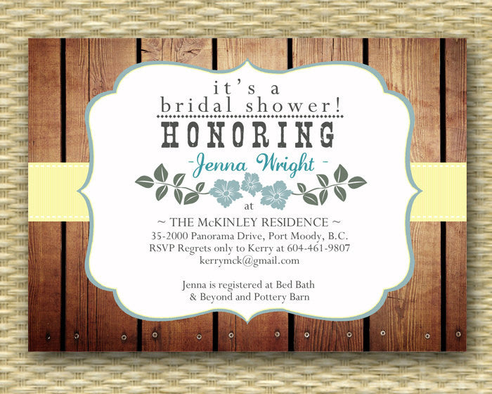 Bridal Shower Invitation Rustic Bridal Shower Country Style Wedding Shower Country Western Couples Shower BBQ, ANY EVENT, Any Colors