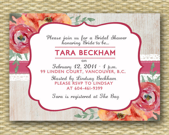 bridal shower invitation rustic whitewash wood lace ribbon floral country western wedding shower birthday baby shower any event
