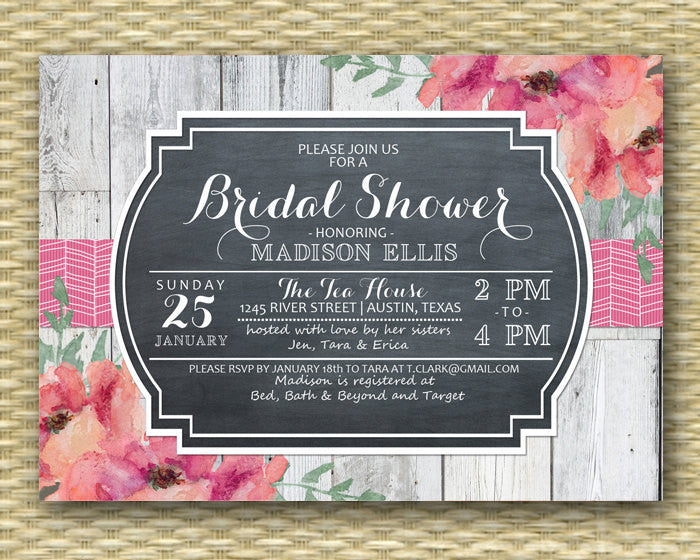 Rustic Bridal Shower Invitation Vintage Chalkboard Shabby Chic Bridal Shower Invite Pink Coral Floral Invitation, ANY EVENT