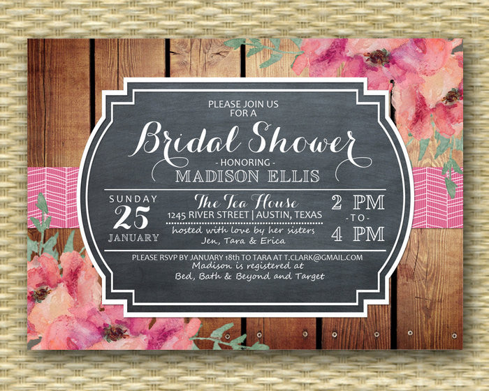 Rustic Chalkboard Bridal Shower Invitation Vintage Chalkboard Floral Rustic Wood Typography Style - ANY EVENT