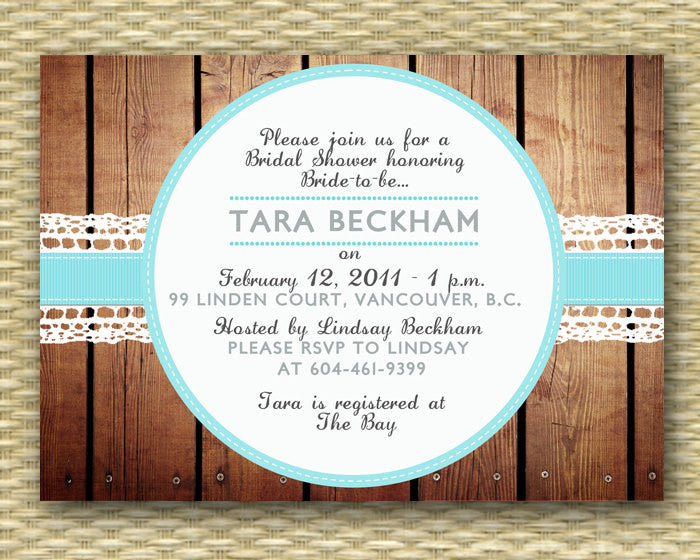 Country Style Bridal Shower Invitation Rustic Lace Ribbon Country Western Couples Shower Wedding Shower I Do BBQ, ANY EVENT, Any Colors