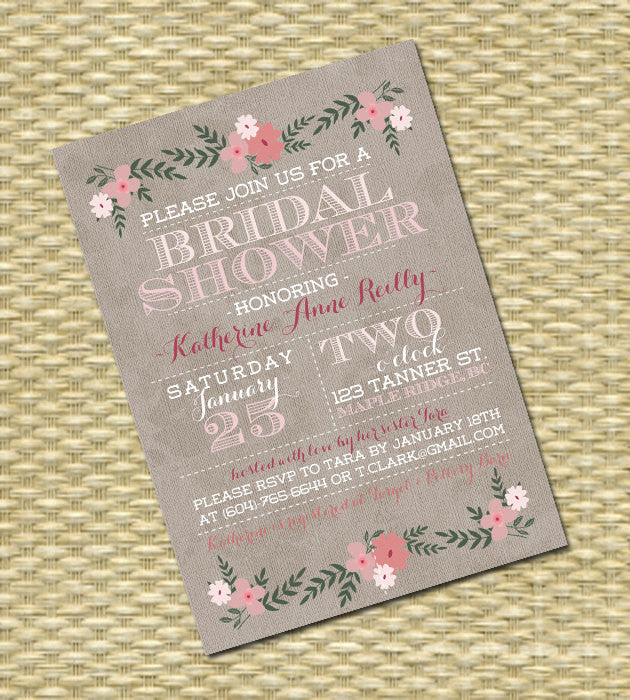 Spring Floral Bridal Shower Invitation Typography Style Pink and Aqua Blue Any Colors Any Event
