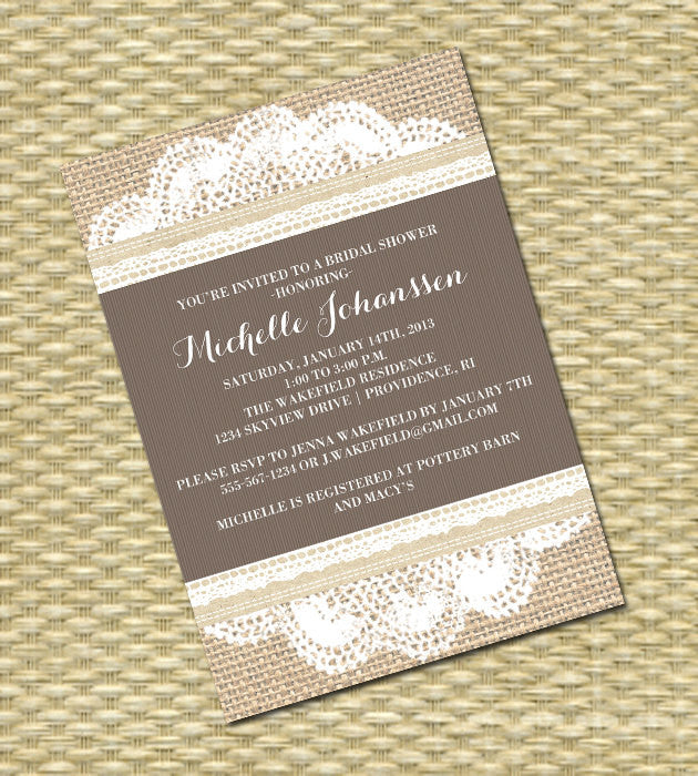 Rustic Bridal Shower Invitation Lace Burlap Wedding Shower Burlap Lace Bridal Shower Bridal Brunch Bridal Tea, ANY COLOR, Any Event