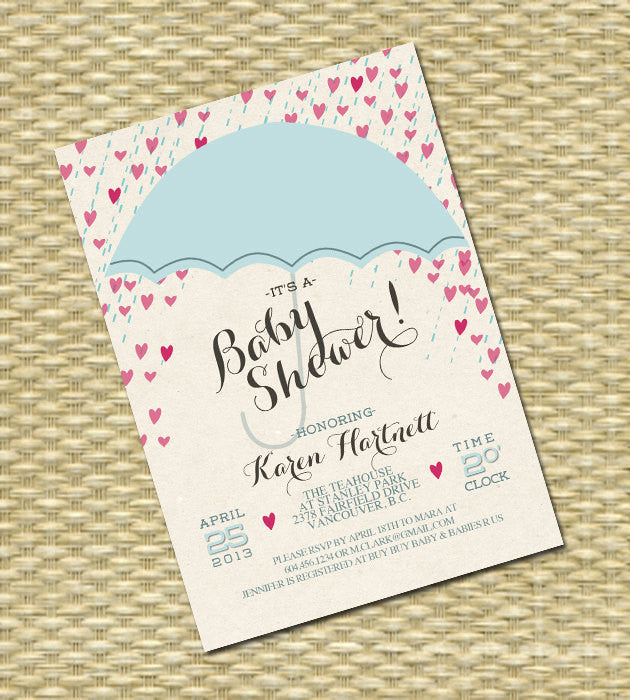 Baby Sprinkle Invitation Sip and See Baby Shower Gender Neutral Baby Boy Baby Girl - Whimsical Hearts with Umbrella Shower - ANY EVENT