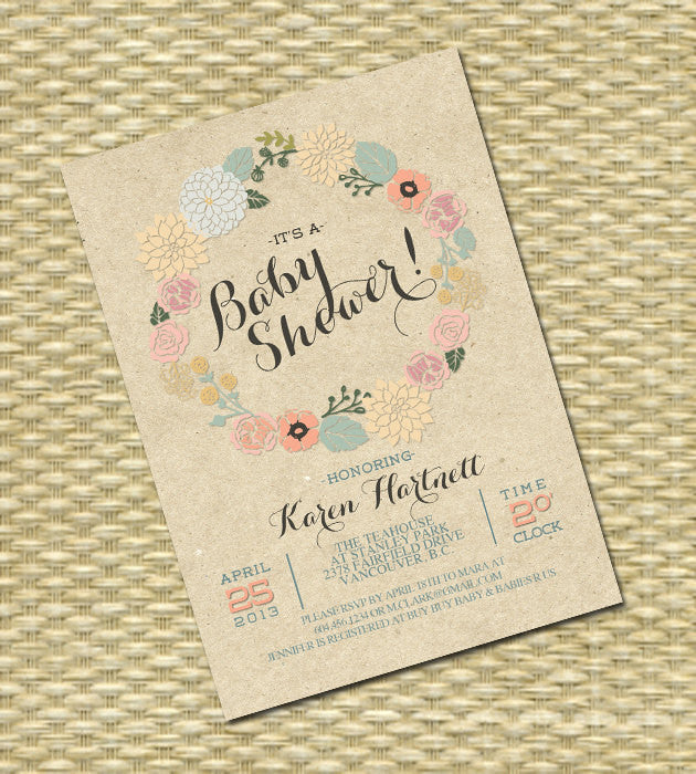 Baby Shower Invitation Rustic Kraft Floral Wreath Baby Girl Gender Neutral Shower Invitation Baby Sprinkle Sip and See ANY EVENT