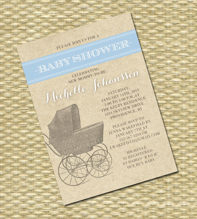 photograph regarding Printable Baby Shower Invitations called Printable Youngster Shower Invitation, Kid Sprinkle, Sip and Check out - Basic Stroller Rustic Kraft - Kid Boy, Youngster Female, Gender Impartial, Twins
