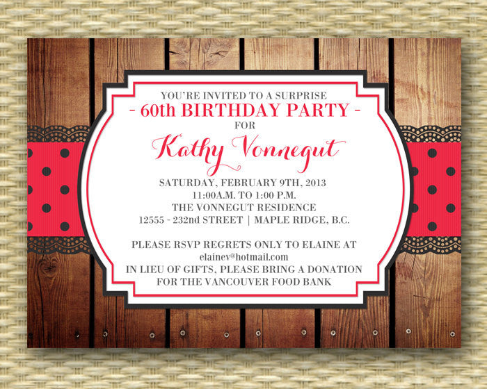 60th Birthday Invitation Adult Birthday Invite 50th Birthday Red Hat Red Purple Birthday Milestone Birthday, ANY COLORS, Any Event