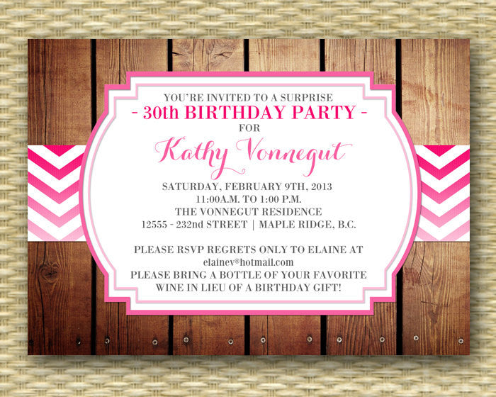 30th Birthday Invitation Chevron Ombre 40th Birthday Party Invitation Birthday BBQ Adult Milestone Birthday, ANY EVENT, Any Colors