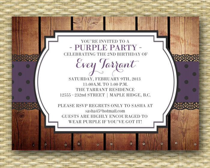 60th Birthday Invitation Adult Invite 50th Red Hat Purple Milestone ANY COLORS Any Event
