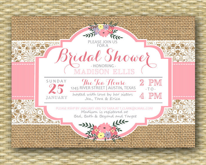 Rustic Bridal Shower Invitation Burlap Lace Pink Floral Typography Bridal Brunch Bridal Tea Bridal Luncheon, ANY EVENT, Any Colors