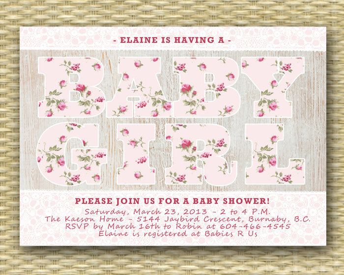 Baby Shower Invitation Rustic Baby Shower Country Baby Girl Shower Lace Shabby Chic Raspberry Pink Roses Floral