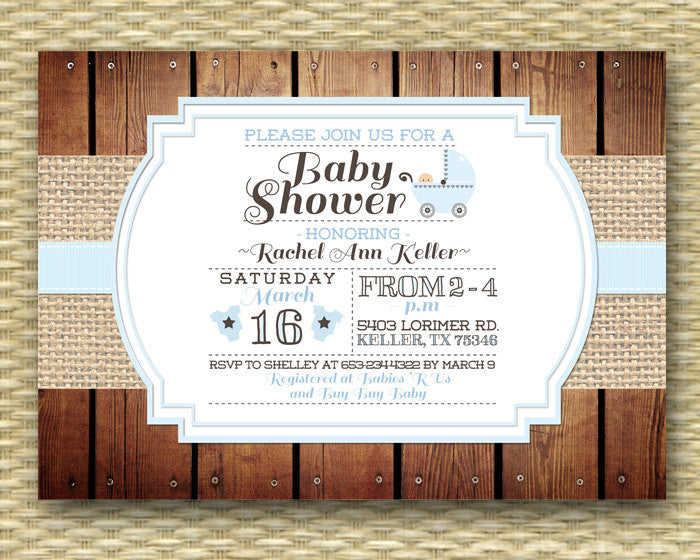 Printable Baby Shower Invitation Rustic Baby Boy Shower Burlap Wood