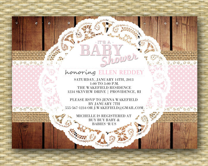 Burlap Lace Rustic Baby Shower Invitation Baby Girl Sip and See Baby Sprinkle Diapers and Wipes Pink Polka Dot Ribbon Lace Doily Any Color