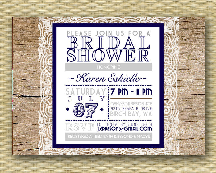 Rustic Bridal Shower Invitation Wood and Lace Typography Style Navy or Any Colors Wedding Shower Couples Shower