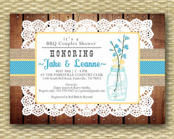 Bridal Shower Invitation - Rustic Mason Flower Doily Burlap Ribbon - Birthday Invitation