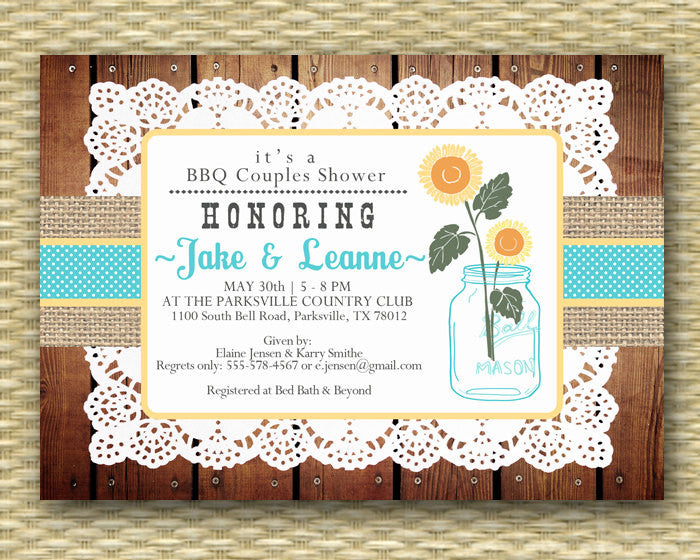 Mason Jar Sunflower Floral Bridal Shower Invitation Burlap Lace Floral Rustic Lace Doily Couples Shower Rehearsal Dinner, ANY EVENT