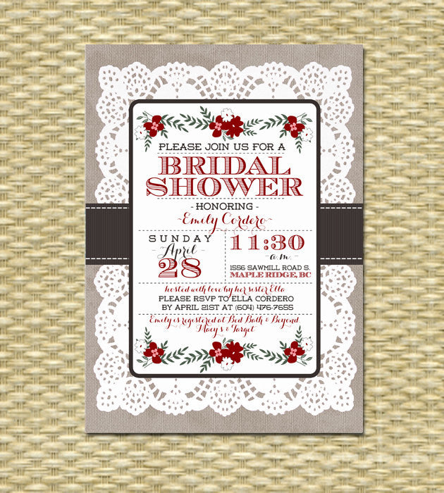Burlap Lace Bridal Shower Invitation Floral Wedding Shower Bridal Brunch Rustic Bridal Tea Party, Any Colors, ANY EVENT