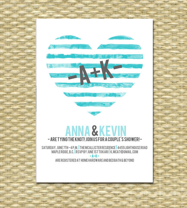 Bridal Shower Invitation Watercolor Painted Heart Couples Shower
