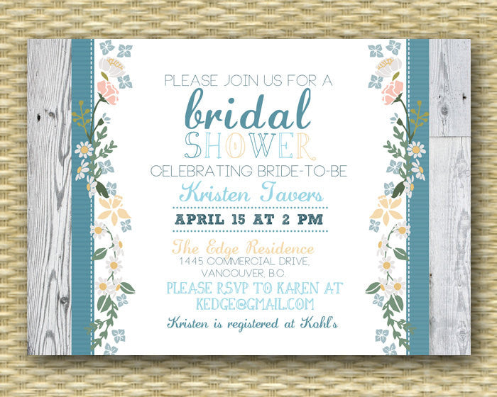 Rustic Country Bridal/Wedding or Baby Shower Invitation - Garden Floral2 - Birthday