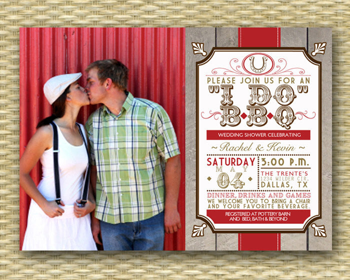 Rustic Country I Do BBQ Wedding Shower Invitation BBQ Couples Shower Engagement Party BBQ Rehearsal Dinner, Any Event