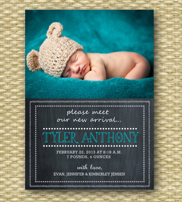 Custom Birth Announcement - Chalkboard Baby Boy, Portrait Layout