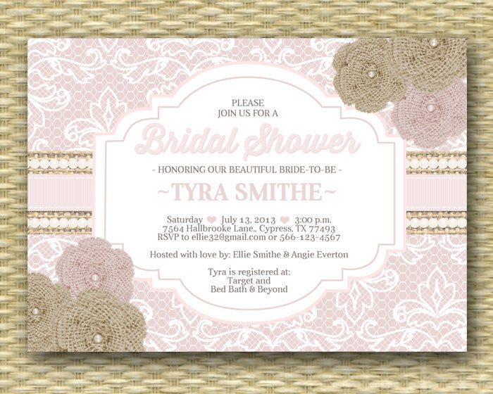 Bridal Shower Invitation Rustic Burlap Lace Burlap Roses Ribbons Pearls Bridal Brunch Bridal Tea, ANY EVENT, Any Colors