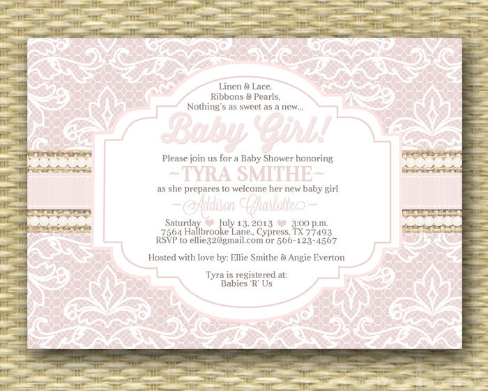 Baby Shower Invitation Burlap Lace Ribbon Pearls Shabby Chic Rustic Baby Girl Shower Baby Sprinkle Sip and See, ANY EVENT, Any Colors