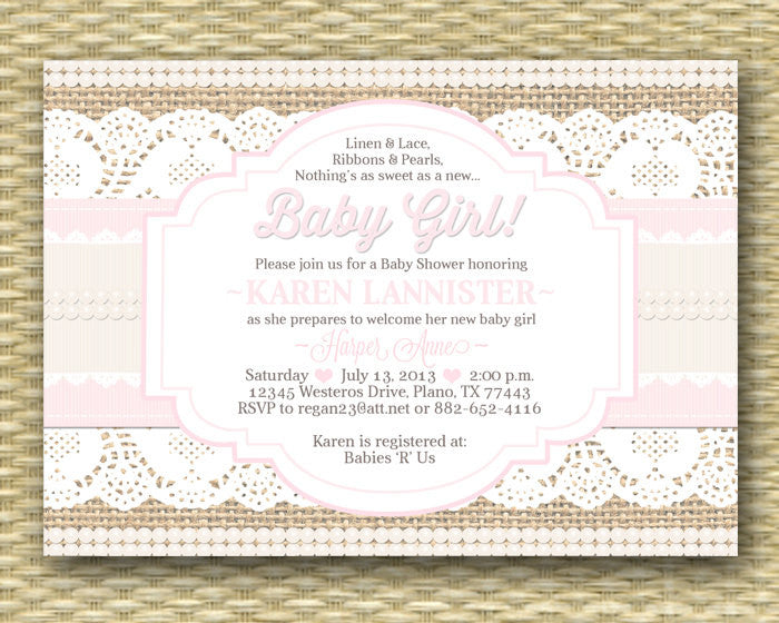 Baby Shower Invitation Burlap Lace Ribbon Pearls Shabby Chic Rustic Baby Girl Shower Sip and See Baby Sprinkle, ANY EVENT, Any Colors