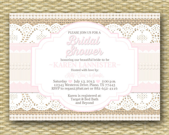 Shabby chic bridal shower invitation rustic burlap lace ribbon shabby chic bridal shower invitation rustic burlap lace ribbon pearls rustic bridal shower bridal brunch bridal tea any event stopboris Images