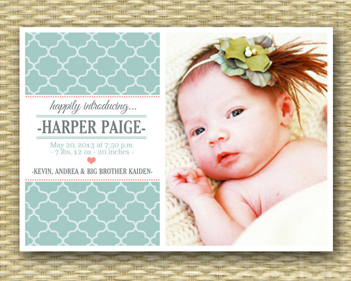 Birth Announcement Baby Girl Baby Boy Photo Announcement Baby Announcement Aqua Coral Pink, ANY COLOR