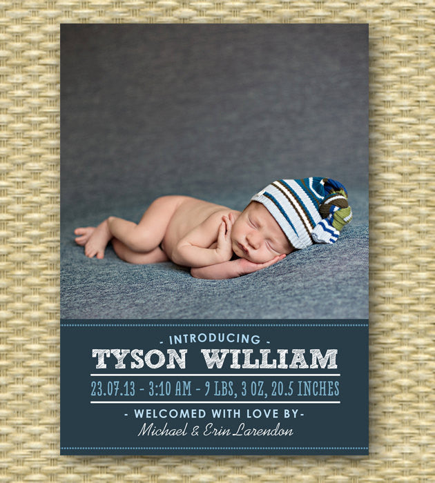 Custom Birth Announcement - Typography Portrait - Tyson