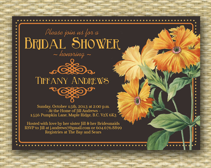 Bridal Shower Invitation Vintage Floral Seed Package Style Fall Bridal Shower Autumn Bridal Shower Wedding Shower Any Event Any Colors