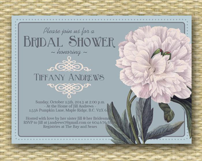 Bridal Shower Invitation - Vintage Seed Packet Inspired - Any Color Scheme, ANY EVENT - Bridal Brunch, Bridal Tea, Baby Shower, Garden Party