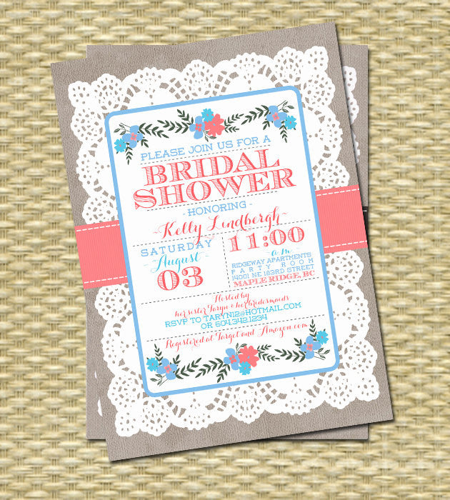 Rustic Bridal Shower Invitation Lace Burlap Ribbon Flowers Typography, Any Colors, ANY EVENT