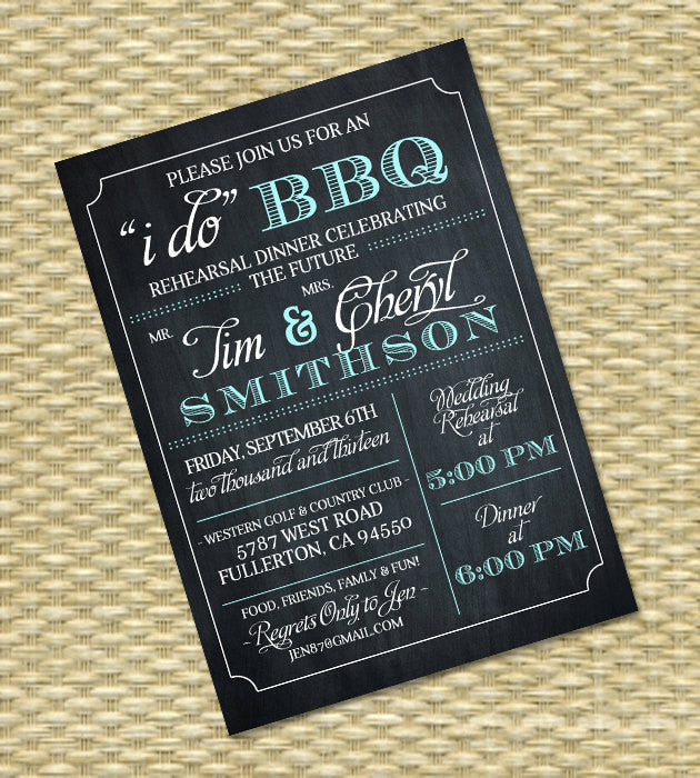 I Do BBQ Couples Shower Invitation Rehearsal Dinner Invite Wedding Shower BBQ Shower Chalkboard Typography, Any Color Scheme, Any Event
