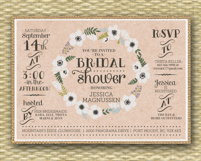 Rustic Burlap Bridal Shower Invitation Floral Wreath Floral Bridal Shower Invite Typography, Any Event