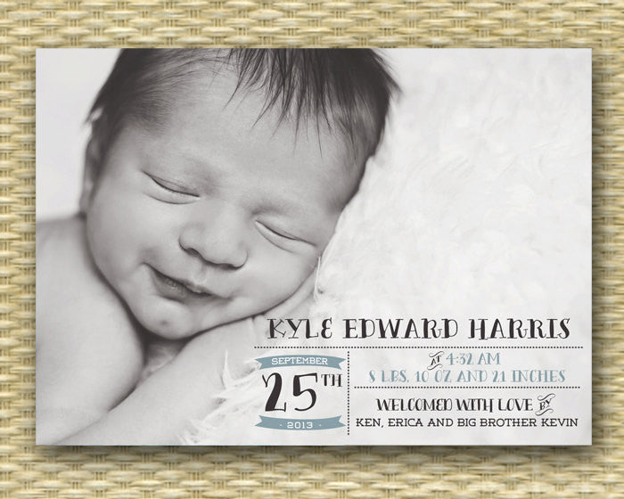 Custom Birth Announcement - Kyle Label Style Full Photo Baby Boy or Girl