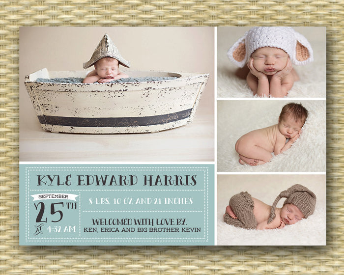 Custom Birth Announcement - Kyle Label Style 4 Photo Baby Boy