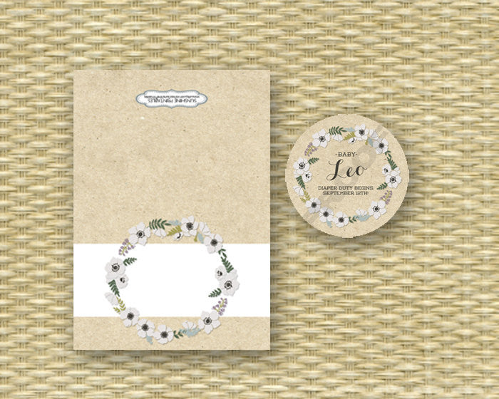Baby Shower Invitation Gender Neutral Baby Sprinkle Sip and See Diapers and Wipes Rustic Kraft Floral Wreath, ANY EVENT