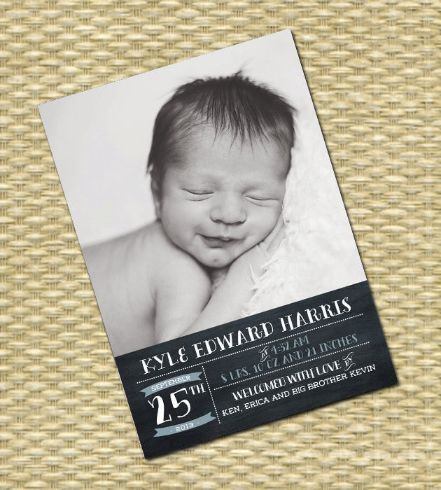 Birth Announcement Baby Announcement Baby Boy Announcement Chalkboard Typography Style, ANY COLORS
