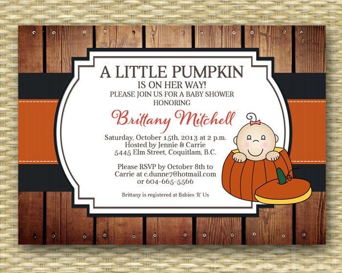 Little Pumpkin Baby Shower Invitation Fall Baby Shower Invite Little Pumpkin on the Way Baby Sprinkle Sip and See Diapers & Wipes, ANY EVENT
