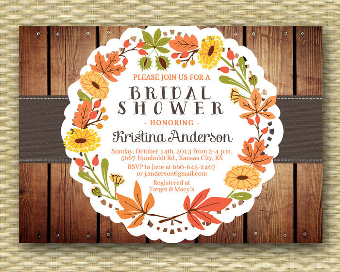 Rustic Fall Bridal Shower Invitation Rustic Wood Fall Leaves Leaf Wreath Wedding Shower Couples Shower, ANY EVENT